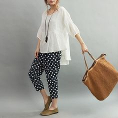 Loose Fitting Linen flaxramie Shirt Blouse for Women by deboy2000........ Spotty pants yum