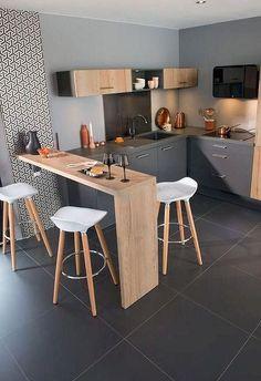 38 Gorgeous Small Kitchen Bar Design Ideas For Apartment Decor Small Kitchen Bar, Kitchen Bar Design, Rustic Kitchen, Diy Kitchen, Kitchen Decor, Kitchen Gadgets, Kitchen Tiles, Small Apartment Kitchen, Wooden Kitchen
