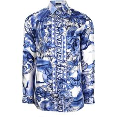 92695f3e Versace Collection Tie Dye Baroque Hand Painted Silk Shirt in white/blue/navy.  On a white silk base, Versace Collection's classic silk shirt takes on this  ...