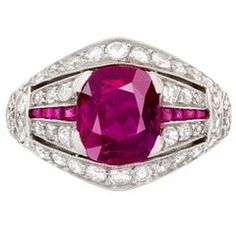 1930s Art Deco Untreated Burmese Ruby Diamond Platinum Ring $108,504 AUD