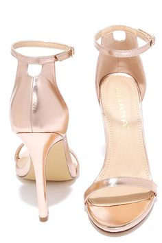 Get your camera ready, because you will want to remember every minute spent in the VIP Ticket Rose Gold Ankle Strap Heels! Rose gold heels have a sexy, single sole design with slender toe strap, adjustable ankle strap (with gold buckle), and structured heel cup.