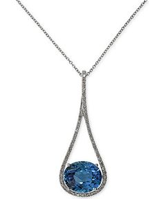EFFY London Blue Topaz (5-5/8 ct. t.w.) and Diamond (1/5 ct. t.w.) Pendant Necklace in 14k White Gold - Effy - Jewelry & Watches - Macy's
