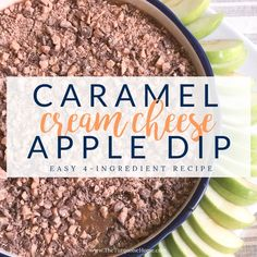 Cream Cheese Caramel Apple Dip - perfect for fall tailgating! Cream Cheese Apple Dip, Cream Cheese Dips, 4 Ingredient Recipes, Pumpkin Dessert, Healthy Dessert Recipes, Cinnamon Rolls, Caramel Apples, Fall Recipes, Turquoise