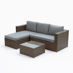 Trans-Continental Group Cayo Coco Brown 3-Piece Plastic Outdoor Sectional Set with Grey Cushions