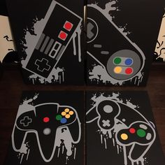Darth Vader Discover Nintendo Four Piece Video Game Controller Paintings Set Video Game Art Hand Painted Custom Colors Custom Wall Art Video Game Decor Video Game Decor, Video Game Rooms, Video Game Art, Set Video, Video Game Bedroom, Boy Room, Kids Room, Deco Gamer, Deco Originale
