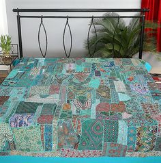 Blue indian embroidered quilt bohemian patchwork bed cover baby blanket