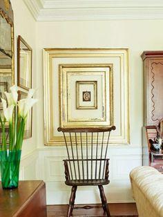 Hang lovely old frames together as wall art.  (via Providence Design)