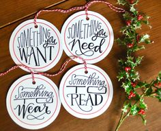 something you want need to wear read gift tag set (FOUR) // holiday gift tags set // christmas gift wrap // holiday gift wrap Gift tags for a fun and simple holiday gift-giving tradition! Use the bakers twine to tie to a package, or remove to tape onto a gift. Recipients name can be written on the back :) Find coordinating wrapping papers here: https://www.etsy.com/listing/476572422/holly-jolly-christmas-holiday-gift-wrap https:/&#...