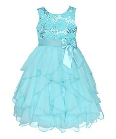 Look what I found on #zulily! Easter Blue Sequin Daisy Cascade Dress - Infant, Toddler & Girls #zulilyfinds