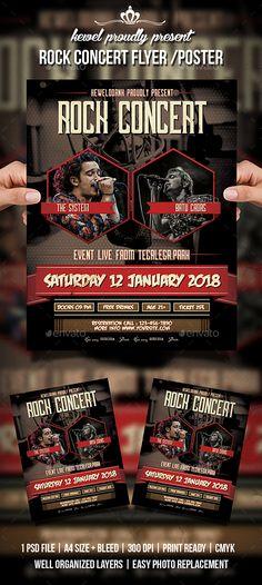 #Rock #Concert #Flyer / #Poster #template - Concerts Events #design. download: https://graphicriver.net/item/rock-concert-flyer-poster/20331789?ref=yinkira
