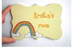 Personalized kids Door sign- Rainbow Yellow door sign for children's room, children decor, kids sign, girls sign.  via Etsy.