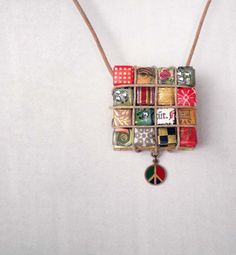 VINTAGE PEACE Charm Paper Rhinestone Eco Chic Necklace Jewelry