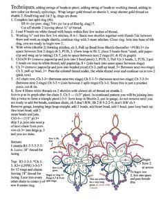 written patterns instructions earrings or motif