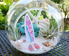 Surfboard Terrarium - Medium Glass Globe Hanging Terrarium Kit with AirPlant ~ Home Decor ~ Beach Decor ~ Flip Flops ~ Gift Idea