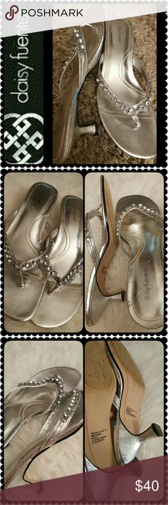 Daisy Fuentes Sandals Daisy Fuentes Signature Sandals, Spotlight Silver Shade with Silver Studs Details, Comfy Heels about 2 inches, Worn but in Good Condition, Size 9M Shoes Sandals