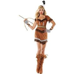 Women's BuySeasons Cherokee Indian Adult Costume ($63) ❤ liked on Polyvore featuring costumes, tops & tees, white, adult ladies halloween costumes, feather costume, adult halloween costumes, white indian costume and indian costume