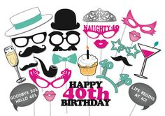 40th Birthday Photobooth Party Props Set 26 by TheQuirkyQuail