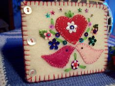 Love birds felt needle book.