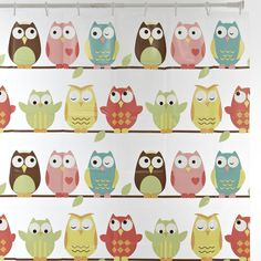 Every kiddo would love to have this fun and colorful owl shower curtain in their bathroom! Owl Bedding, Owl Shower, Pretty Birds, Discount Designer, Branding Design, Sweet Home, Snoopy, Fancy, Curtains