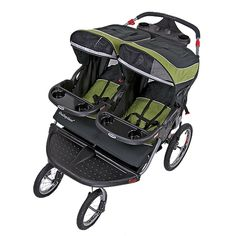 """double jogging stroller. easy to push. 4 smooth riding wheels.12"""" swivel fronts. Includes airpump and rain shield! lightweight steel frame, multipostion reclining seats. up to 50lbs per seat. 249.95, much cheaper then the BOB at 650.00 plus get rain shield. the con: very wide"""
