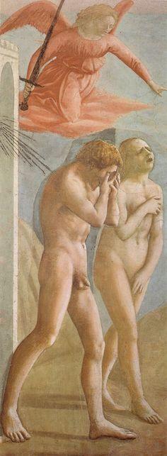Cacciata dei progenitori dall'Eden, affresco di Masaccio, 1424-1425, Cappella Brancacci, Chiesa di Santa Maria del Carmine a Firenze