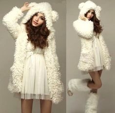L668 Women's Girls Lolita Cute Bear Ears Sherpa Hoodie Jacket Coat Outerwear S | eBay