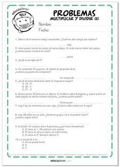 Ficha Problemas para Imprimir Multiplicar y Dividir Teaching Tips, Teaching Reading, Learning, Essay Outline Template, Mental Maths Worksheets, Summer Courses, Math Facts, Teacher Hacks, Teaching Spanish