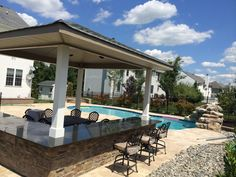 KS Pools and Patios cabana builders in Warminster, PA. For more information on custom pool cabanas in Doylestown, PA visit our site today! Outdoor Seating, Outdoor Ideas, Outdoor Decor, Bbq Guys, Backyard House, Pool Cabana, Custom Pools, 4 Bedroom House, Pool Ideas