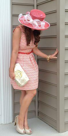 Baltimore Preakness 2013 (Kentucky Derby & Belmont) -  Trina Turk Sangria Dress, Tory Burch Logo Clutch and Nordstrom big hat