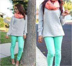 green/grey/coral