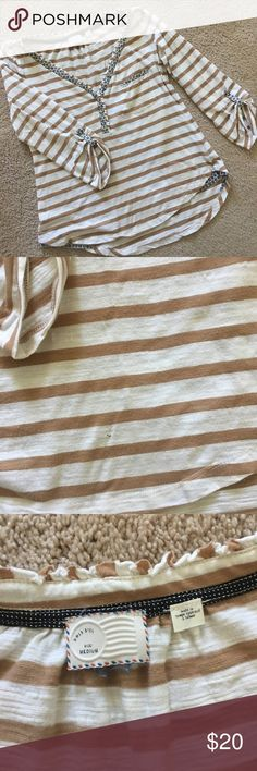 Great Anthropologie striped top. Really cute Anthropologie top. Cute stripes. Great colors for fall. Size medium. Tiny hole near the bottom on front. Anthropologie Tops Blouses