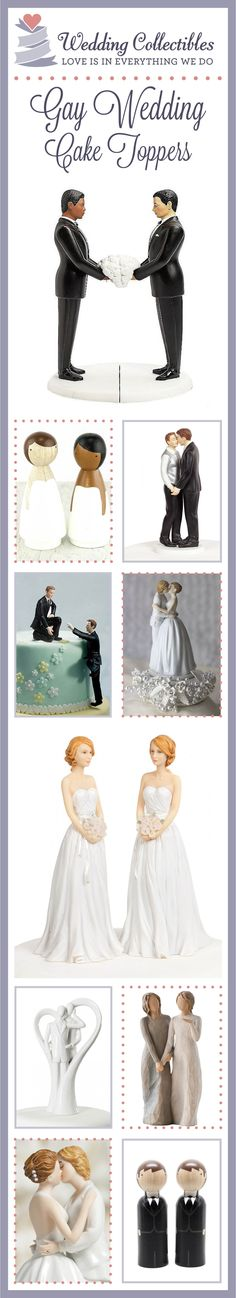 Make your special day perfect with our 100% customizable, one-of-a-kind, gay wedding cake toppers! View our full collection here: http://www.weddingcollectibles.com/Gay-Wedding-Cake-Toppers/