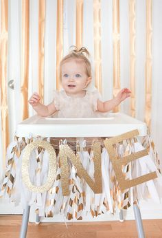 Oakland Avenue: Colette's Gold and White First Birthday Party