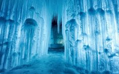 """Throughout the North and Midwest—specifically Utah, Minnesota, Wisconsin, Alberta, and Lincoln—you'll find grand designs you can walk through that are made using the """"dribble"""" method. Ice Castles New Hampshire, Castle Project, Public, Wisconsin Dells, Beautiful Sites, Grand Designs, Background For Photography, Kids Christmas, Birthday Party Decorations"""