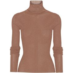 Tibi Metallic ribbed-knit turtleneck sweater found on Polyvore featuring tops, sweaters, ribbed knit sweater, ribbed knit turtleneck sweaters, brown tops, slimming tops and metallic turtleneck