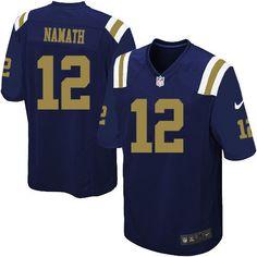 Nike Limited Joe Namath Navy Blue Youth Jersey - New York Jets #12 NFL Alternate