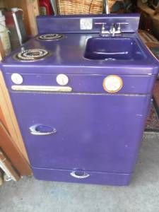 This is the coolest Sink/ Fridge/ Stove in ONE! Vintage and its purple.... amazing idea!