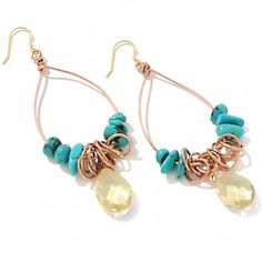 Deb Guyot Designs Lemon Quartz and Turquoise Drop Earrings   HSN Price: $64.90   Appraised Value: $89.0