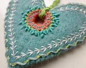 hand embroidered heart ornament - freeform stitches on thick wool felt by bo betsy - free shipping