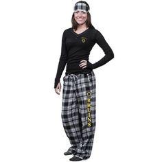 Boston Bruins Ladies Crossroad Burnout Pajama Sleep Set With Mask - Black