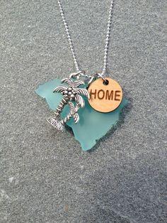 South Carolina Sea Glass Style Silver Palm Necklace by CABANA109, $45.00