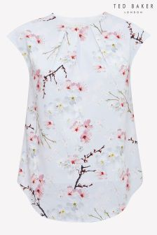 b605f157b50 Ted Baker Light Grey Neebye Oriental Blossom Keyhole Blouse Ted Baker Dress  Floral, Floral Fashion