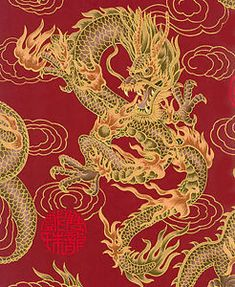 1 Yard: RED FIRE-BREATHING DRAGONS: Japanese Asian Oriental Quilt Fabric