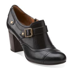 Town Edge in Black Leather - Womens Shoes from Clarks