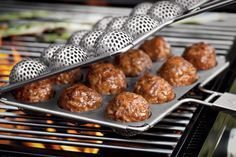 10 Great Grilling Gadgets ~ Meatball Grill Basket, Swashbuckling BBQ Sword, Wall Mounted Grill, Grand Grill Daddy Cleaning Brush and Cooking Gadgets, Cooking Tools, Pan Cooking, Cooking Rice, Camping Cooking, Cooking Videos, Cool Kitchen Gadgets, Cool Kitchens, Popcake Maker