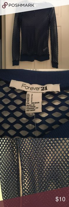 Never Worn Long Sleeve Forever 21 Netted Shirt For sale is a never worn fish net like shirt in royal blue. It's from forever 21 and a size small. Forever 21 Tops