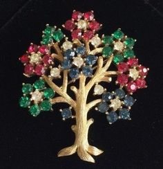 "Vintage Trifari ""Tree Of Life"" Brooch Pin~Red/Blue/Green Rhinestones/Goldtone 