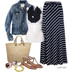 Striped Maxi by archimedes16 on Polyvore