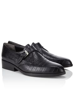 Black Croc Embossed Leather Shoes Robert Clergerie