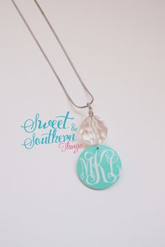 Monogrammed Necklace Aqua Crystal with Silver Chain...